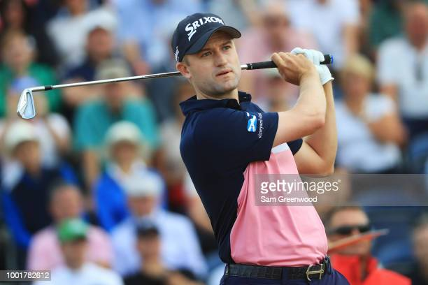 Russell Knox of Scotland plays his shot from the third tee during the first round of the 147th Open Championship at Carnoustie Golf Club on July 19...