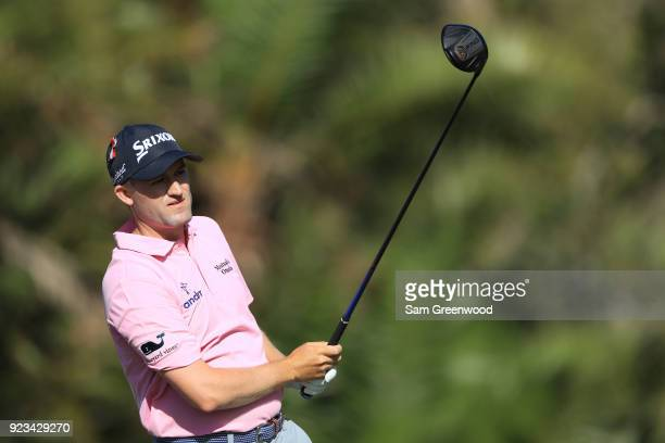 Russell Knox of Scotland plays his tee shot on the eighth hole during the second round of the Honda Classic at PGA National Resort and Spa on...