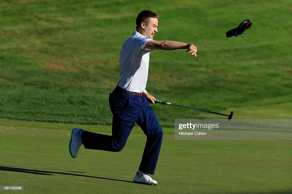 Russell Knox of Scotland reacts on the 18th green after winning the Travelers Championship during the final round of the Travelers Championship at TCP River Highlands on August 7, 2016 in Cromwell, Connecticut.