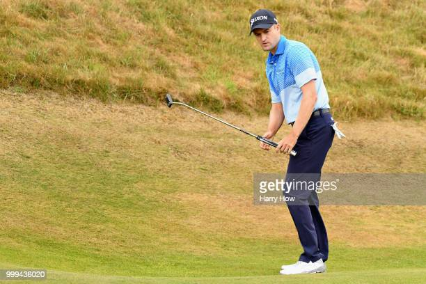 Russell Knox of Scotland reacts to his birdie attempt on hole one during day four of the Aberdeen Standard Investments Scottish Open at Gullane Golf...