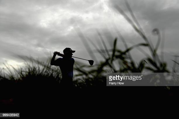 Brandon Stone of South Africa poses with the trophy after winning the Aberdeen Standard Investments Scottish Open at Gullane Golf Course on July 15...