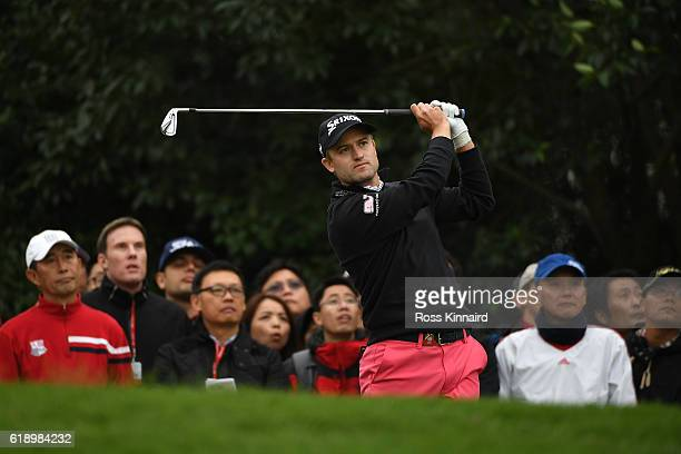 Russell Knox of Scotland tees off on the 17th hole during day three of the WGC HSBC Champions at Sheshan International Golf Club on October 29 2016...