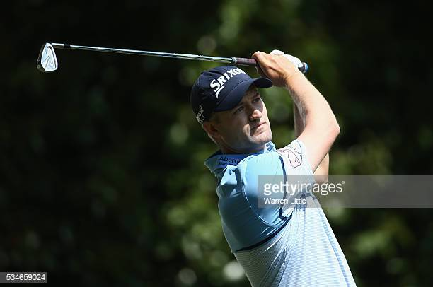 Russell Knox of Scotland tees off on the 2nd hole during day two of the BMW PGA Championship at Wentworth on May 27 2016 in Virginia Water England