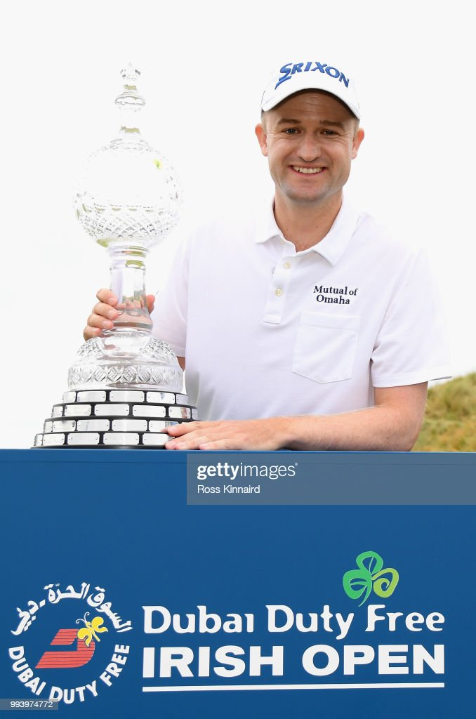 Russell Knox of Scotland with the winners trophy after his play-off win in the final round of the Dubai Duty Free Irish Open at Ballyliffin Golf Club on July 8, 2018 in Donegal, Ireland.