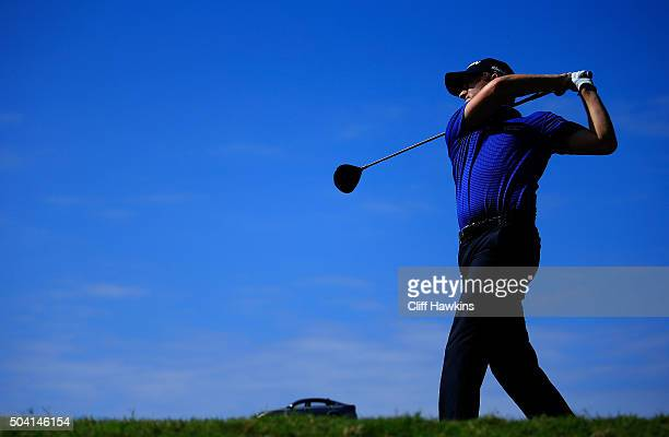 Russell Knox plays his shot from the fifth tee during round two of the Hyundai Tournament of Champions at the Plantation Course at Kapalua Golf Club...