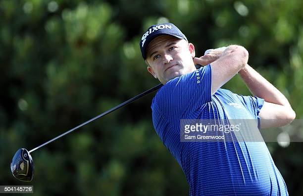 Russell Knox plays his shot from the first tee during round two of the Hyundai Tournament of Champions at the Plantation Course at Kapalua Golf Club...