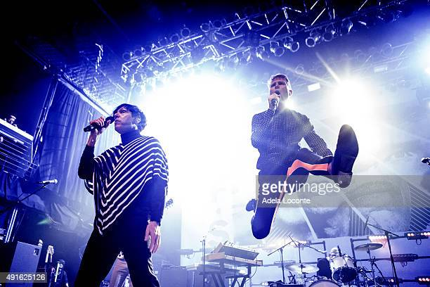 """Russell Mael, Alex Kapranos, and Paul Thomson from supergroup """"FFS"""" formed by Scottish indie rock band """"Franz Ferdinand"""" and American rock-pop band..."""