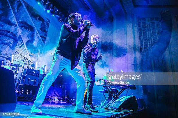 Russell Mael Alex Kapranos and Ron Mael of FFS perform at the Troxy on June 29 2015 in London England