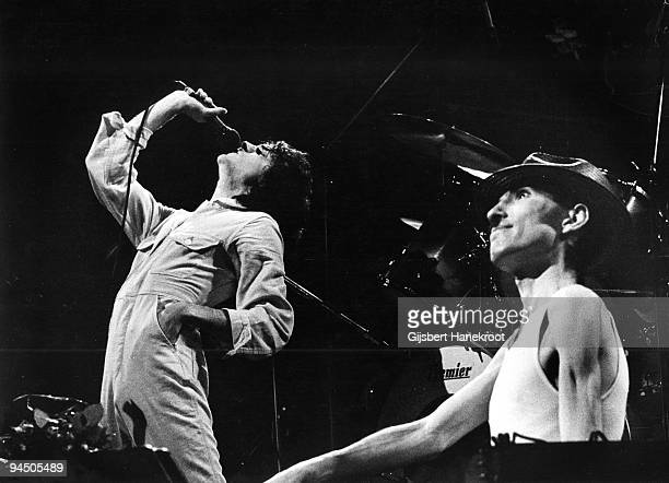 Russell Mael and Ron Mael from Sparks perform live on stage in Amsterdam, Netherlands in 1975