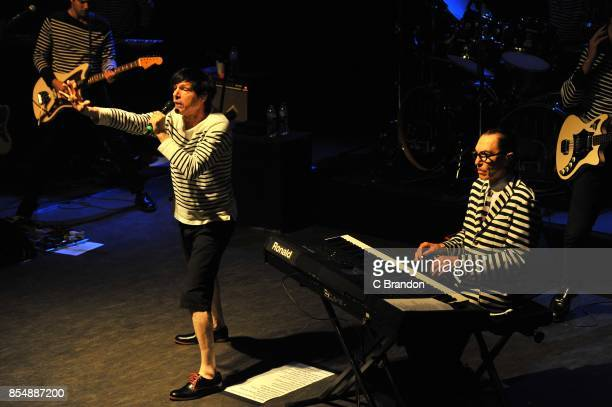 Russell Mael and Ron Mael of Sparks perform on stage at the O2 Shepherd's Bush Empire on September 27, 2017 in London, England.
