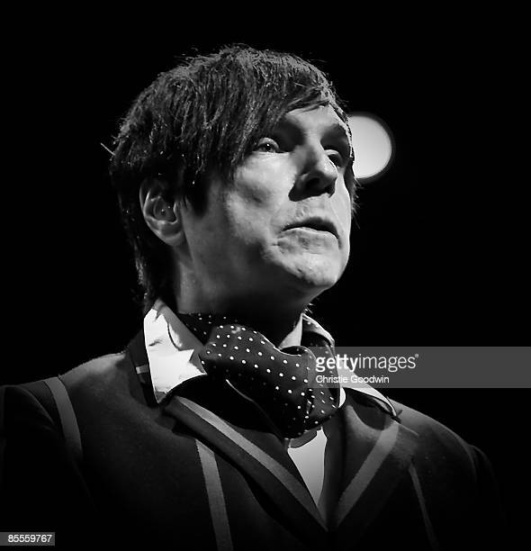 Russell Mael of Sparks performs on stage at the Forum on March 20, 2009 in London, England.