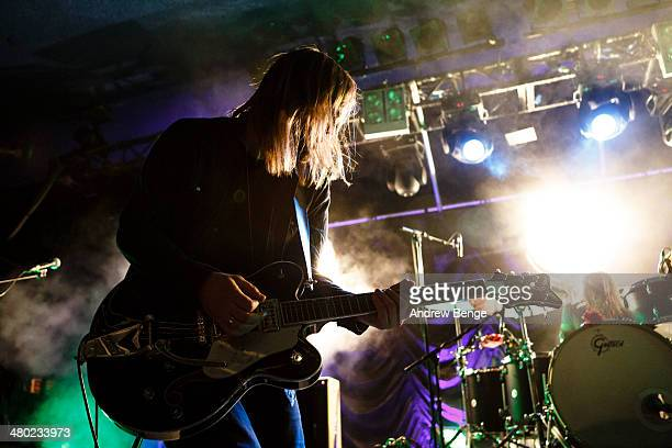 Russell Marsden of Band Of Skulls performs on stage at Leeds Metropolitan University on March 23 2014 in Leeds United Kingdom