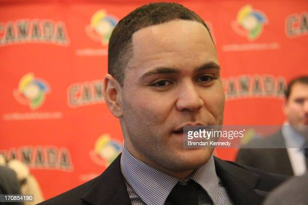 Russell Martin catcher for the Pittsburgh Pirates at Baseball Canada's annual awards banquet at the Rogers Centre hotel on Jan 12 2013 The Montreal...