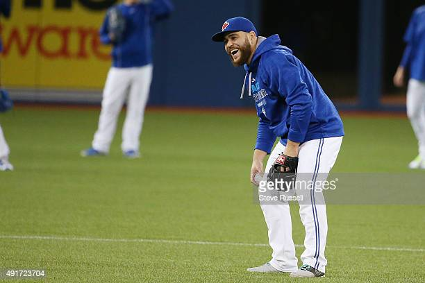 TORONTO ON OCTOBER 7 Russell Martin has a laugh while playing shortstop during batting practice The Toronto Blue Jays and Texas Rangers practice as...