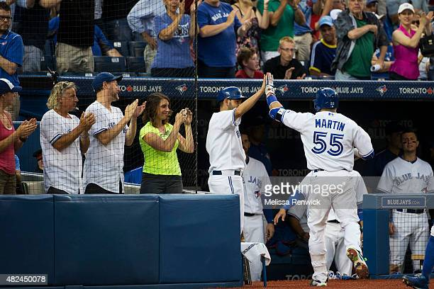 TORONTO ON JULY 30 Russell Martin number 15 reacts after hitting a solo home run in the third inning during a Blue Jays play against the Kansas City...