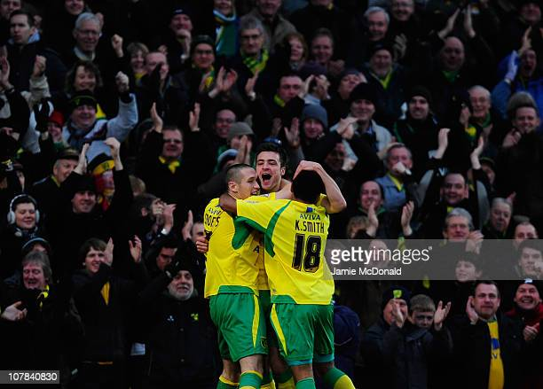 Russell Martin of Norwich City celebrates his goal with team mates during the npower Championship match between Norwich City and Queens Park Rangers...