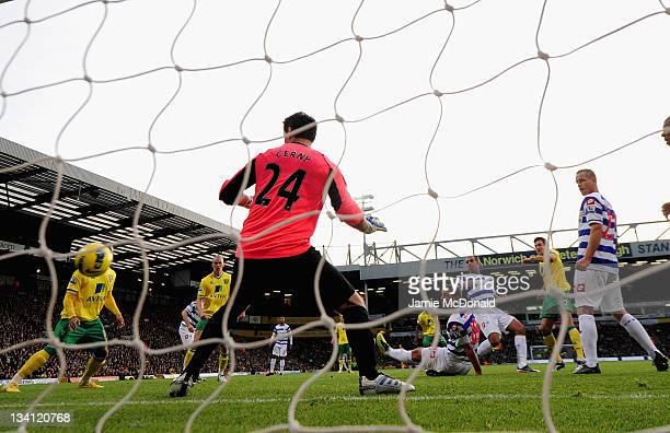 Russell Martin of Norwich City scores a goal during the Barclays Premier League match between Norwich City and Queens Park Rangers at Carrow Road on...