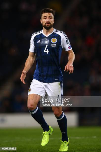 Russell Martin of Scotland during the FIFA 2018 World Cup Qualifier between Scotland and Slovenia at Hampden Park on March 26 2017 in Glasgow Scotland