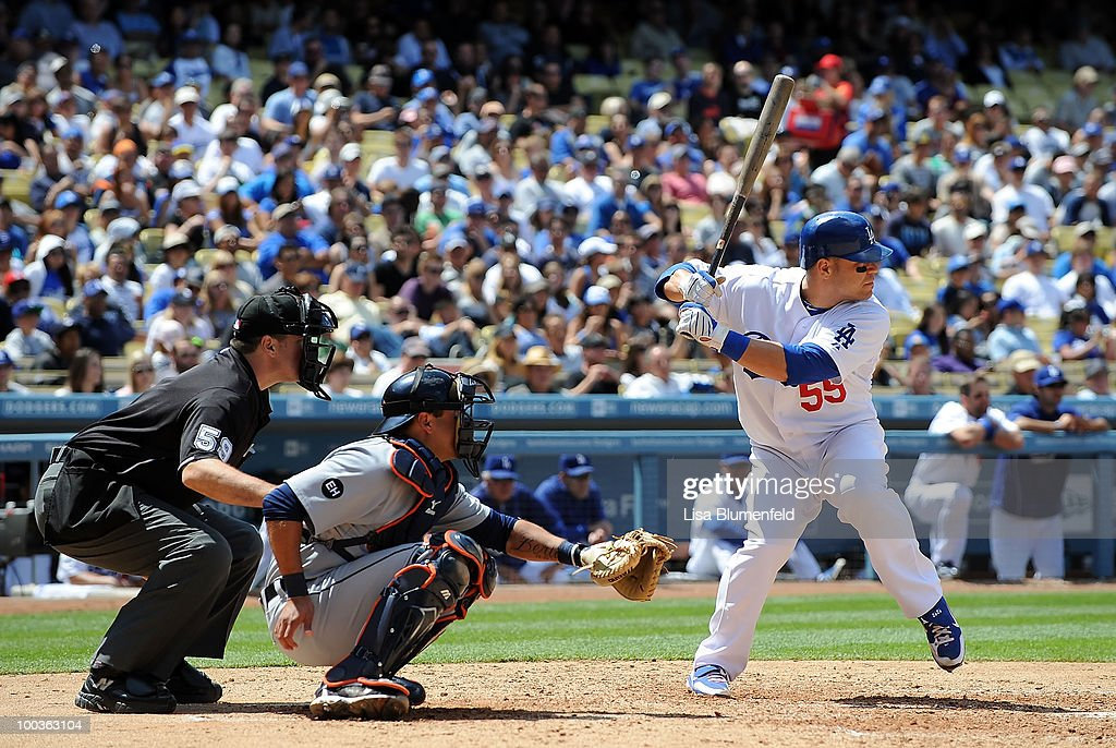 Russell Martin #55 of the Los Angeles Dodgers at bat against the Detroit Tigers at Dodger Stadium on May 23, 2010 in Los Angeles, California.
