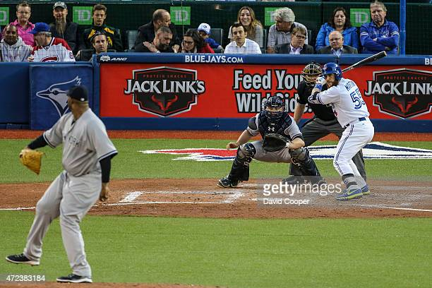 TORONTO ON MAY 6 Russell Martin of the Toronto Blue Jays batting in the 4th inning during the game between the Toronto Blue Jays and the New York...