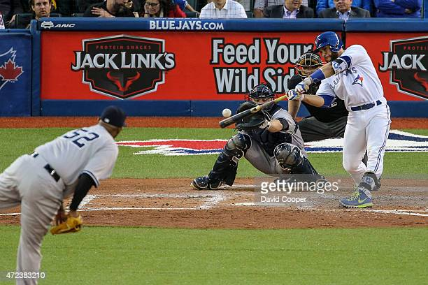 Russell Martin of the Toronto Blue Jays batting in the 4th inning during the game between the Toronto Blue Jays and the New York Yankees at the...