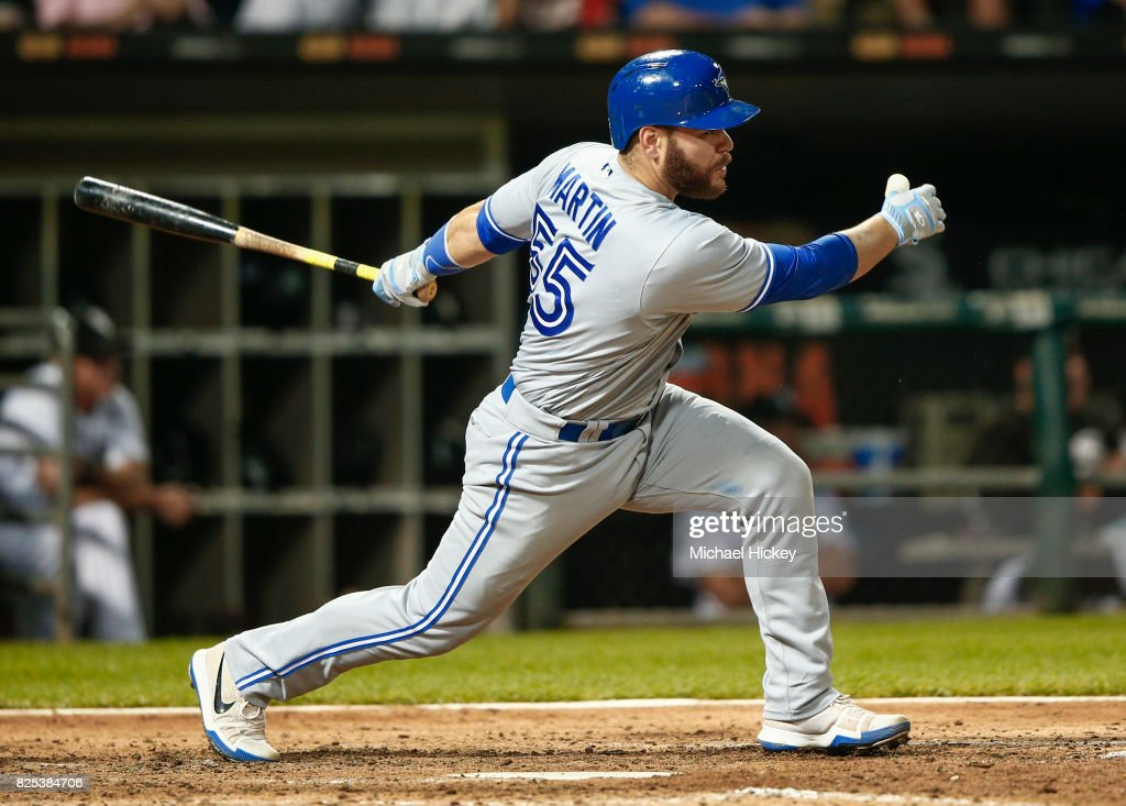 Russell Martin #55 of the Toronto Blue Jays hits during the eighth inning against the Chicago White Sox at Guaranteed Rate Field on August 1, 2017 in Chicago, Illinois.