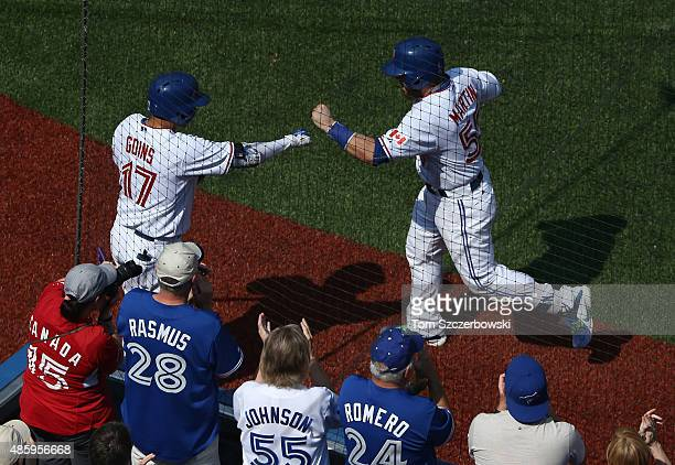 Russell Martin of the Toronto Blue Jays is congratulated by Ryan Goins after hitting a tworun home run in the fourth inning during MLB game action...