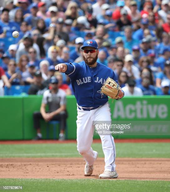 Russell Martin of the Toronto Blue Jays makes the play at third base and throws out the baserunner in the sixth inning during MLB game action against...