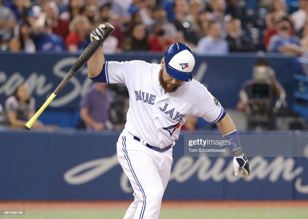 Russell Martin #55 of the Toronto Blue Jays reacts after flying out to end the eighth inning during MLB game action against the Los Angeles Angels of Anaheim at Rogers Centre on May 23, 2018 in Toronto, Canada.
