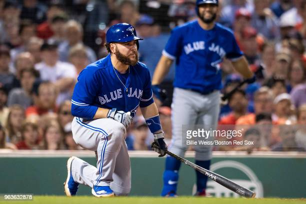 Russell Martin of the Toronto Blue Jays reacts after nearly being hit by a pitch during the seventh inning of a game against the Boston Red Sox on...