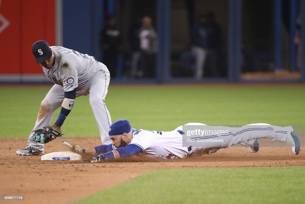Russell Martin #55 of the Toronto Blue Jays slides safely into second base with a double in the eighth inning during MLB game action as Robinson Cano #22 of the Seattle Mariners makes the late tag at Rogers Centre on May 9, 2018 in Toronto, Canada.