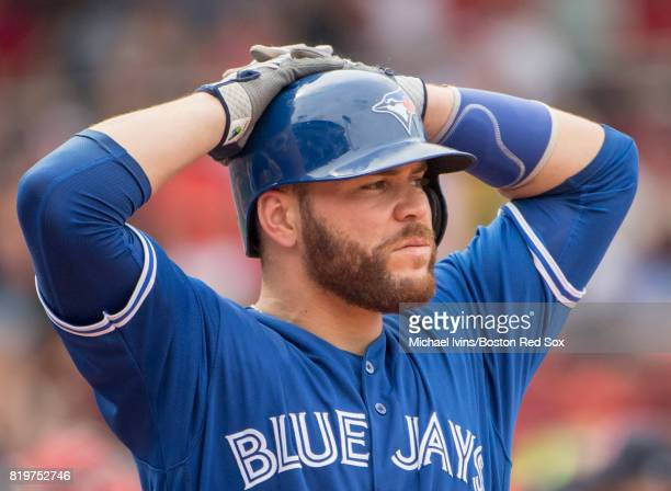 Russell Martin of the Toronto Blue Jays waits for a pitching change against the Boston Red Sox in the sixth inning at Fenway Park on July 20 2017 in...