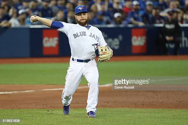 Russell Martin plays third base for the last two innings as the Toronto Blue Jays lose 87 in their home opener to the Boston Red Sox at the Rogers...