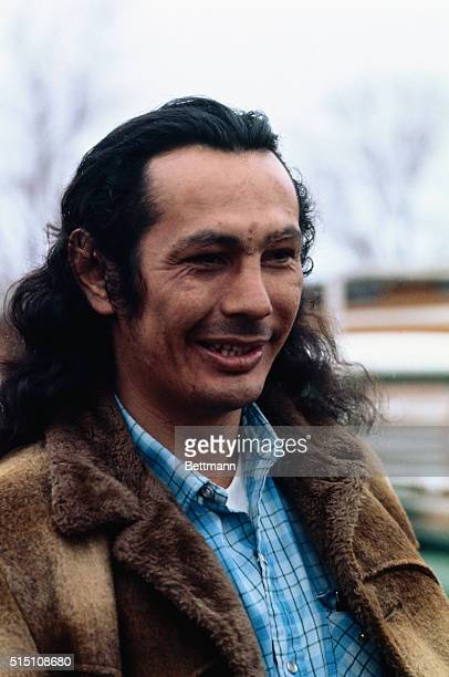 Russell Means, , spokesman for rebel Indians at Wounded Knee, SD.