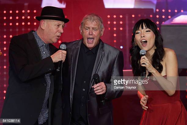 Russell Morris John Farnham Dami Im perform during the Prime Minister's Olympic Dinner at The Melbourne Convention and Exhibition Centre on June 18...