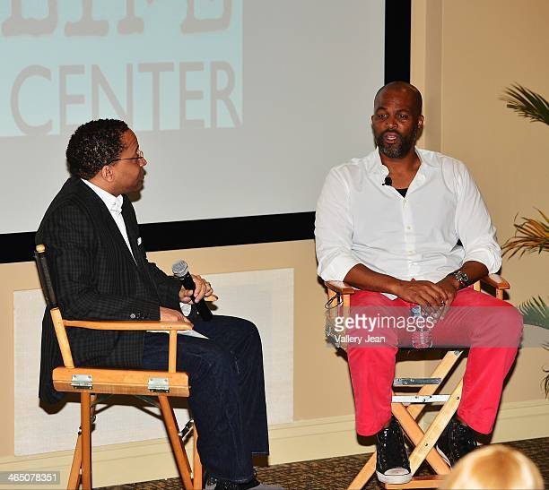 Russell Motley and Chris Spencer attend a master class series A Conversation with Chris Spencer conducted by Miami Film Life Center at Camillus House...