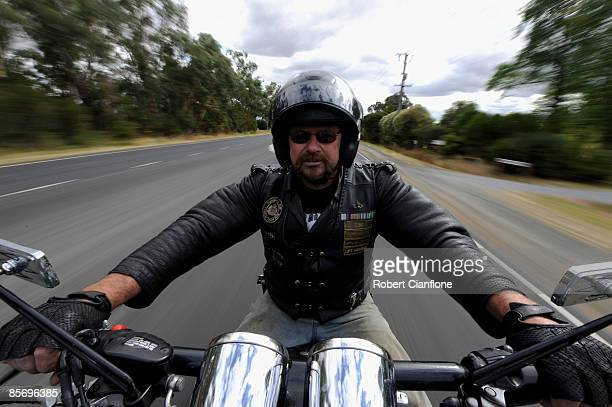 Russell Oakes of the Vietnam Veterans Motorcycle Club Australia Gippsland Chapter poses for a portrait ahead of ANZAC Day next month at Longwarry...