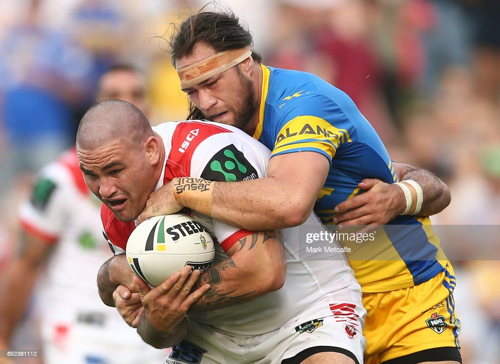 Russell Packer of the Dragons is tackled during the round two NRL match between the St George Illawarra Dragons and the Parramatta Eels at WIN Stadium on March 12, 2017 in Wollongong, Australia.