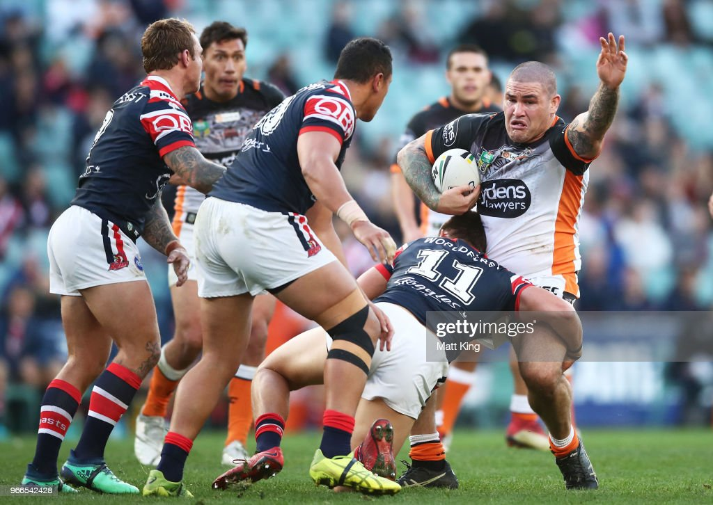 Russell Packer of the Tigers is tackled during the round 13 NRL match between the Sydney Roosters and the Wests Tigers at Allianz Stadium on June 3, 2018 in Sydney, Australia.