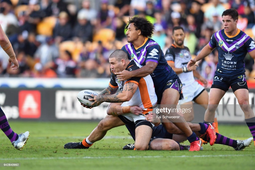 Russell Packer of the Tigers offloads the ball during the round five NRL match between the Wests Tigers and the Melbourne Storm at Mt Smart Stadium on April 7, 2018 in Auckland, New Zealand.
