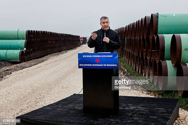 Russell Russ Girling president and chief executive officer of TransCanada Corp speaks during a media event at the TransCanada Corp Houston Lateral...