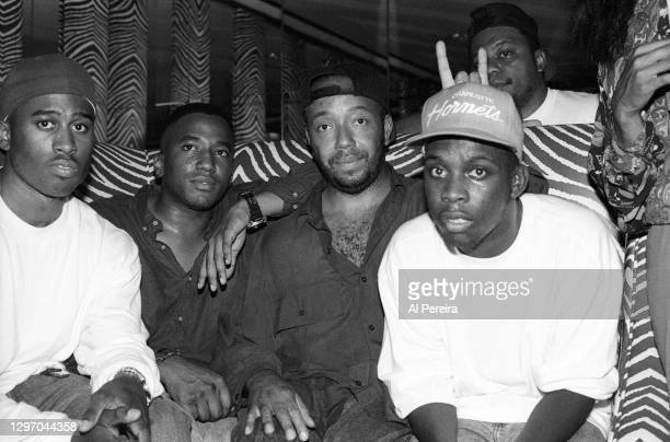 """Russell Simmons and A Tribe Called Quest attend an album-release party for A Tribe Called Quest's """"The Low End Theory"""" on September 16, 1991 in New..."""