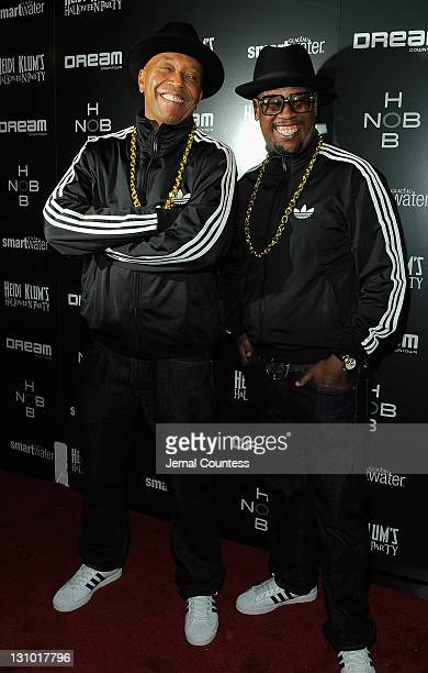 Russell Simmons and Andre Harrell attend Heidi Klum's 12th annual Halloween party at the PH-D Rooftop Lounge at Dream Downtown on October 31, 2011 in...