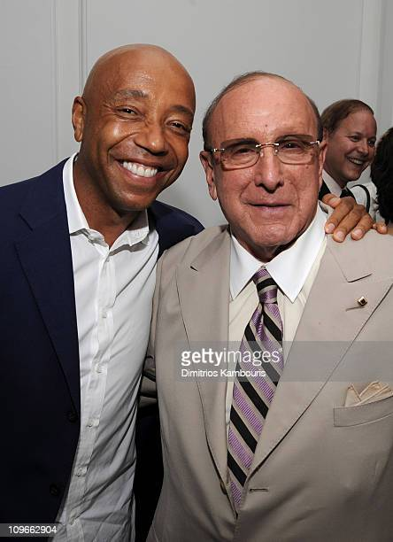 Russell Simmons and Chief Creative Officer of Sony BMG Clive Davis attend Tommy Hilfiger's engagement party hosted by Leonard and Evelyn Lauder at...