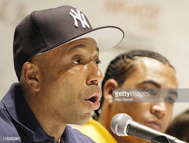 Russell Simmons and Don Omar during 2006 Hip Hop Summit Sponsored By Chrysler Financial at Wayne State University's Bonstelle Theatre in Detroit...