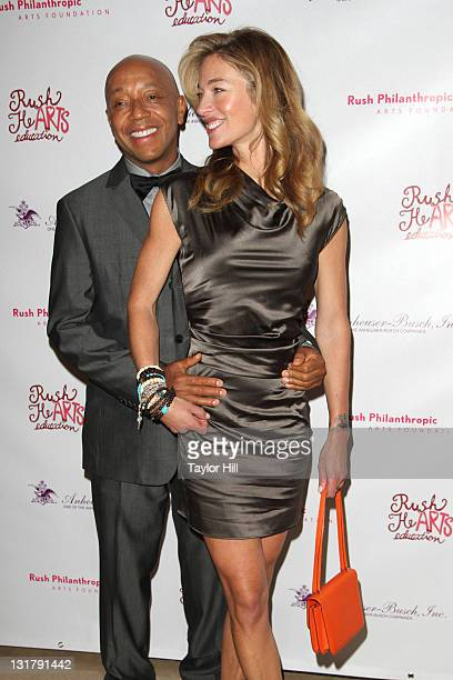 Russell Simmons and Elaine Mellencamp attend the Rush HeARTS Education luncheon benefit at The Plaza Hotel on February 14 2011 in New York City