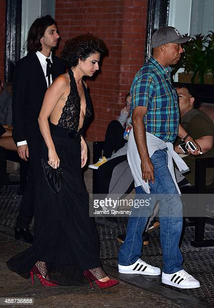 Russell Simmons and Elena Levon seen on the streets of Manhattan on September 16 2015 in New York City