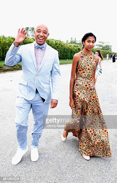 Russell Simmons and his daughter Aoki Lee attend as Russell Simmons' Rush Philanthropic Arts Foundation Celebrates 20th Anniversary At Annual Art For...