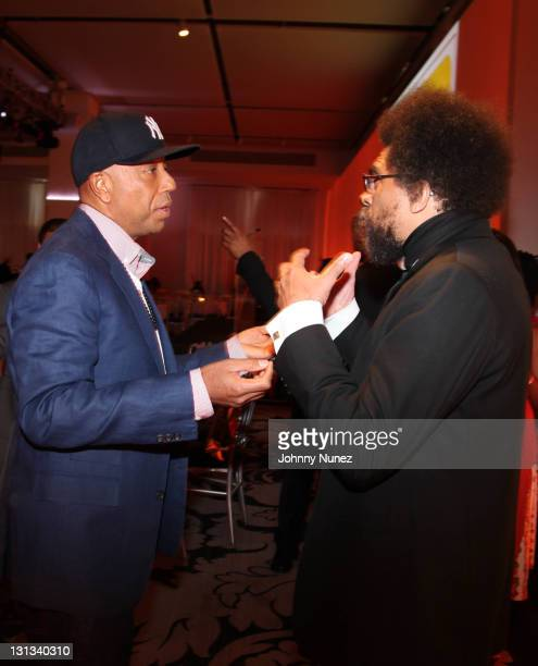 Russell Simmons and honoree Dr Cornel West attend the Brotherhood Sister Sol Inc Voices Benefit Silent Auction at Espace on May 5 2011 in New York...