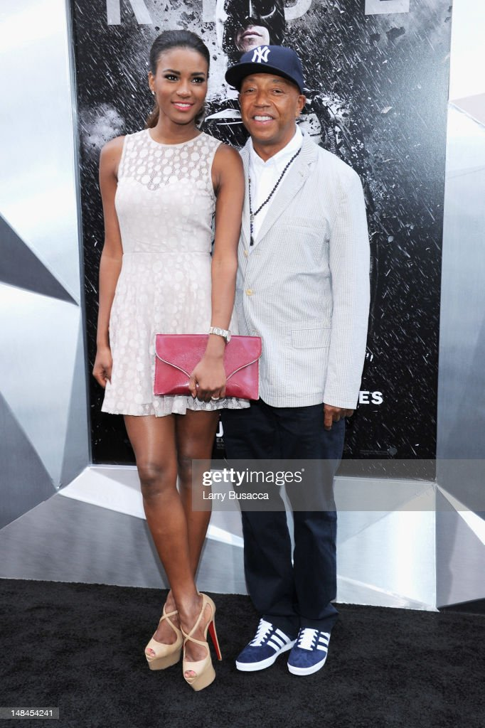Russell Simmons and Miss Universe Leila Lopes attend 'The Dark Knight Rises' premiere at AMC Lincoln Square Theater on July 16, 2012 in New York City.